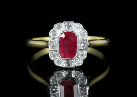 Ruby Diamond Ring 18ct Gold White Gold front view