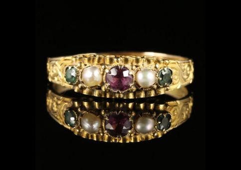 Antique Victorian Amethyst Emerald Pearl Ring Dated 1867 12ct Gold front view