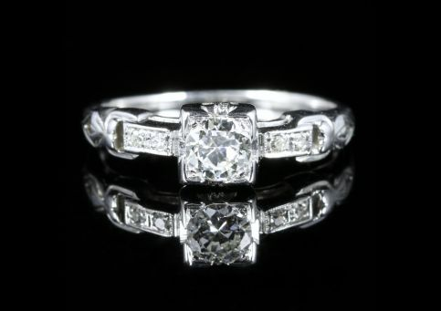 Antique Victorian Diamond Engagement Heart Ring 18ct White Gold Circa 1900 front view