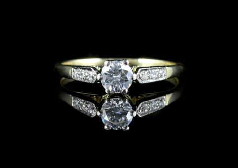 Antique Edwardian Diamond Solitaire Engagement Ring Circa 1930 front view
