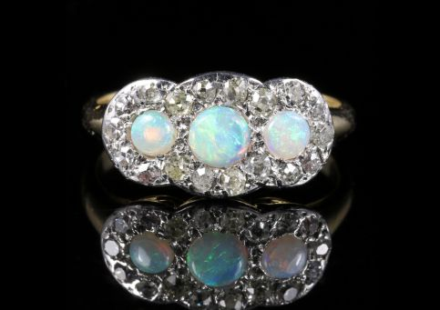 Antique Edwardian Opal Diamond Trilogy Ring 18ct Gold Circa 1915 front view