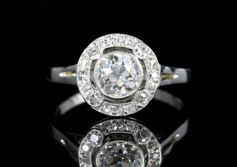 Antique Art Deco Diamond Cluster Ring Platinum Engagement 1.50ct front view