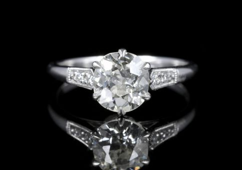 Antique Diamond Engagement Ring Solitare 1.50ct Vvs1 front view