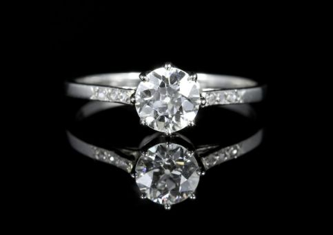 Antique French Diamond Solitaire Ring 18ct White Gold Circa 1915 front view
