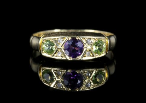 Antique Suffragette Ring Amethyst Peridot Diamond Dated 1902 front view
