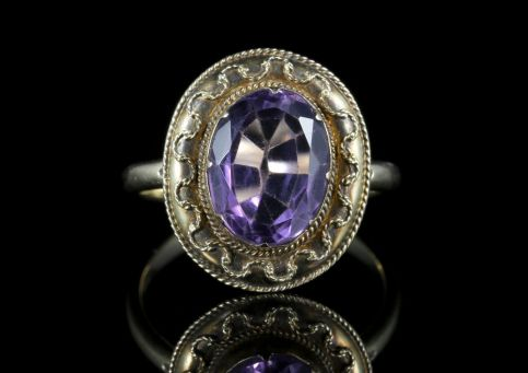 Antique Victorian Amethyst Etruscan Revival Ring front view