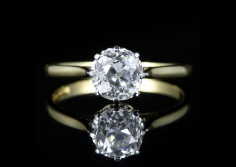Antique Victorian Diamond Ring 1.35ct Diamond Vvs1 H Colour front view