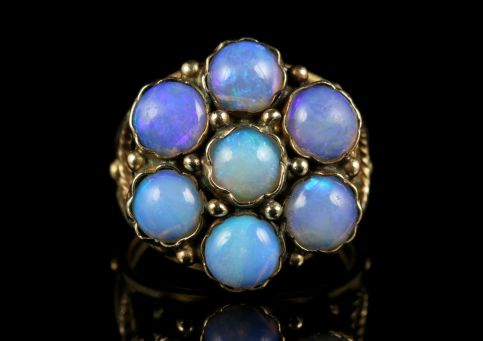 Antique Victorian Opal Cluster Ring Rose Gold Fabulous Opals front view