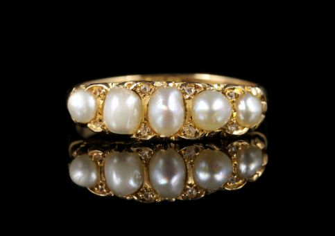 Antique Victorian Pearl Diamond Ring Circa 1870 18ct Gold front view