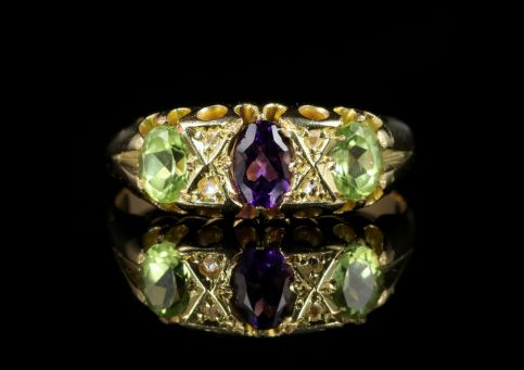 Antique Victorian Suffragette Ring Amethyst Peridot Diamond 18ct Gold front view