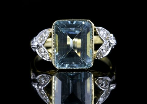 Art Deco Aquamarine Diamond Ring 18ct Yellow Gold front view