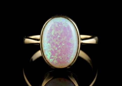 Opal 9ct Gold Ring Large 6.5ct Opal front view