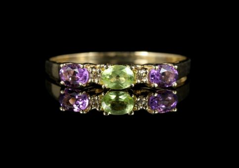 Suffragette Amethyst Peridot Diamond Ring 9ct Gold front view