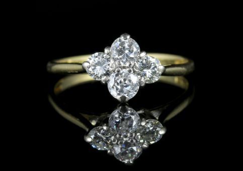 Vintage Diamond Cluster Ring 18ct Gold Engagement Ring front view