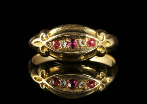 Antique Edwardian Ruby Diamond Trilogy Ring Dated 1909 Chester front view
