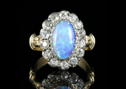Antique Georgian Opal Diamond Cluster Ring 18ct Gold front view