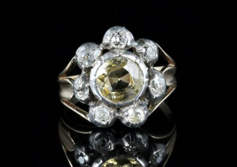 Antique Georgian Yellow Topaz Diamond Ring Circa 1780 Gold Silver front view