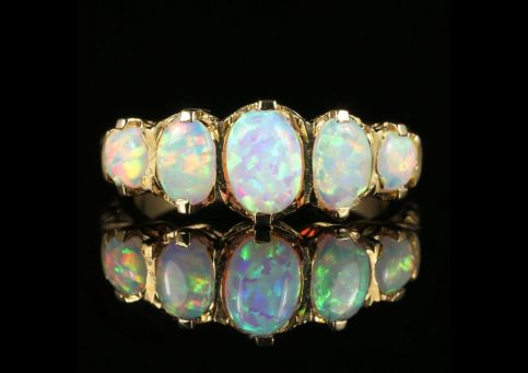 Opal 5 Stone Ring 9ct Gold front view