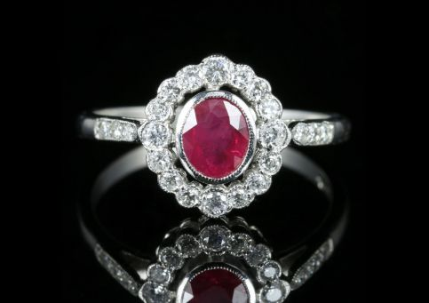 Ruby Diamond Cluster Ring Platinum front view