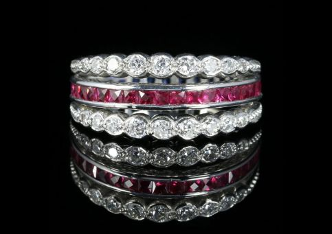 Ruby Diamond Sapphire Eternity Flip Ring Can Be Worn Four Ways front view