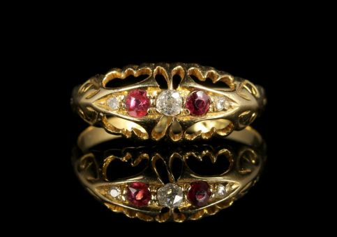 Antique Edwardian Ruby Diamond Ring 18ct Dated 1919 front view
