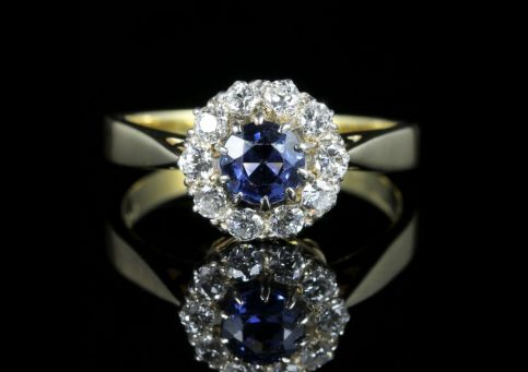 Antique Victorian Sapphire Diamond Ring 18ct Gold front view