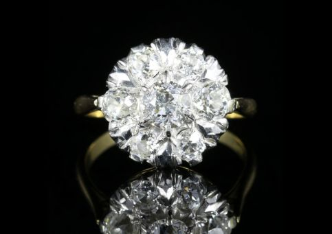 Antique Edwardian Diamond Cluster Ring 1.75ct of Diamonds Circa 1915 front view