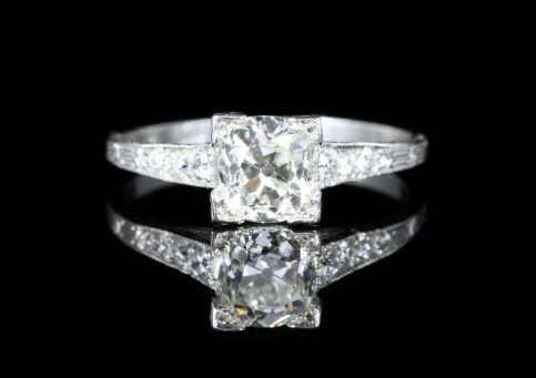 Antique Art Deco Diamond Engagement Ring Solitaire Circa 1920 front view