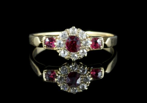 Antique Victorian Ruby Diamond Cluster Ring 18ct Gold Circa 1880 front view