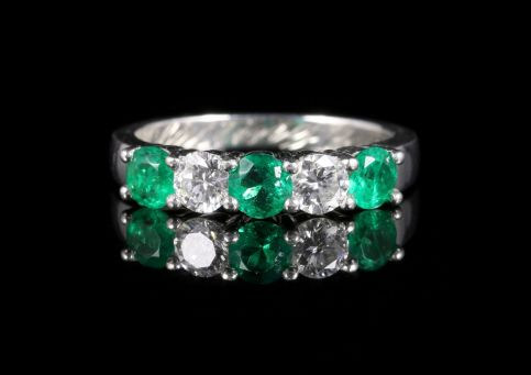 Vintage Emerald Diamond Ring Platinum Inscribed Circa 1930 front view