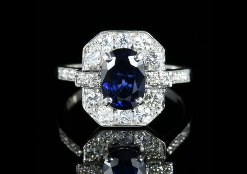Art Deco Sapphire Diamond Ring 18ct White Gold front view