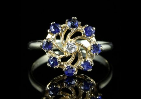 Sapphire Diamond Ring 9ct Gold front view