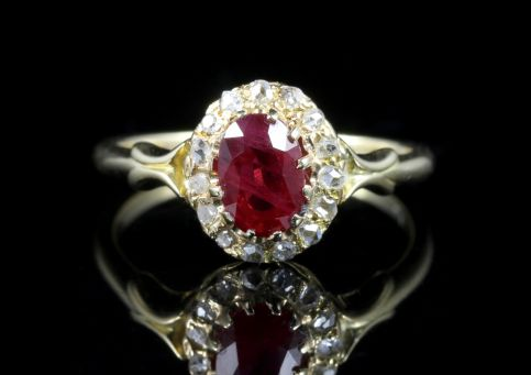 Antique Victorian Ruby Diamond Ring Natural Ruby 18ct Gold Circa 1880 front view