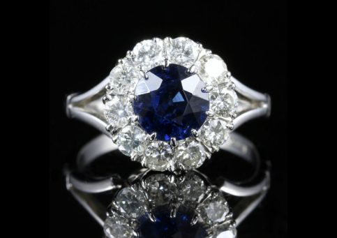 Antique Edwardian Sapphire Diamond Cluster Ring Engagement 18ct White Gold front view