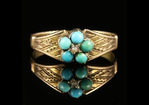 ANTIQUE GEORGIAN TURQUOISE PEARL RING 18CT GOLD CIRCA 1800
