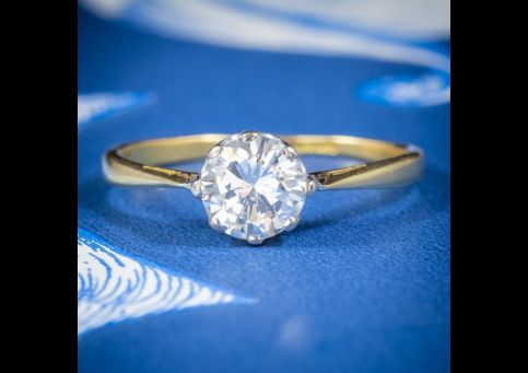 ANTIQUE EDWARDIAN DIAMOND SOLITAIRE ENGAGEMENT RING 18CT GOLD CIRCA 1905 0.97CT DIAMOND WITH CERT