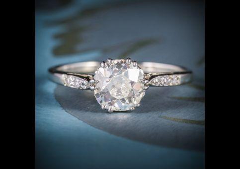 ANTIQUE EDWARDIAN DIAMOND SOLITAIRE RING PLATINUM 18CT GOLD CIRCA 1910