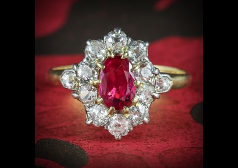 ANTIQUE VICTORIAN RUBY DIAMOND RING 18CT GOLD CIRCA 1900