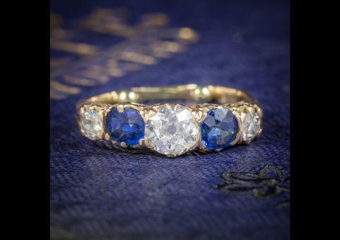 ANTIQUE VICTORIAN SAPPHIRE DIAMOND RING 14CT GOLD