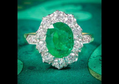 EMERALD DIAMOND CLUSTER RING 18CT GOLD 2.85CT EMERALD