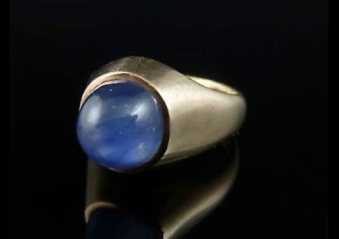 EDWARDIAN 2.80ct CABOCHON SAPPHIRE SOLITAIRE GOLD GENTS RING