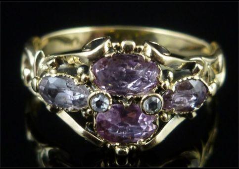 GEORGIAN PINK TOPAZ DIAMOND 18CT GOLD BEAUTIFUL RING