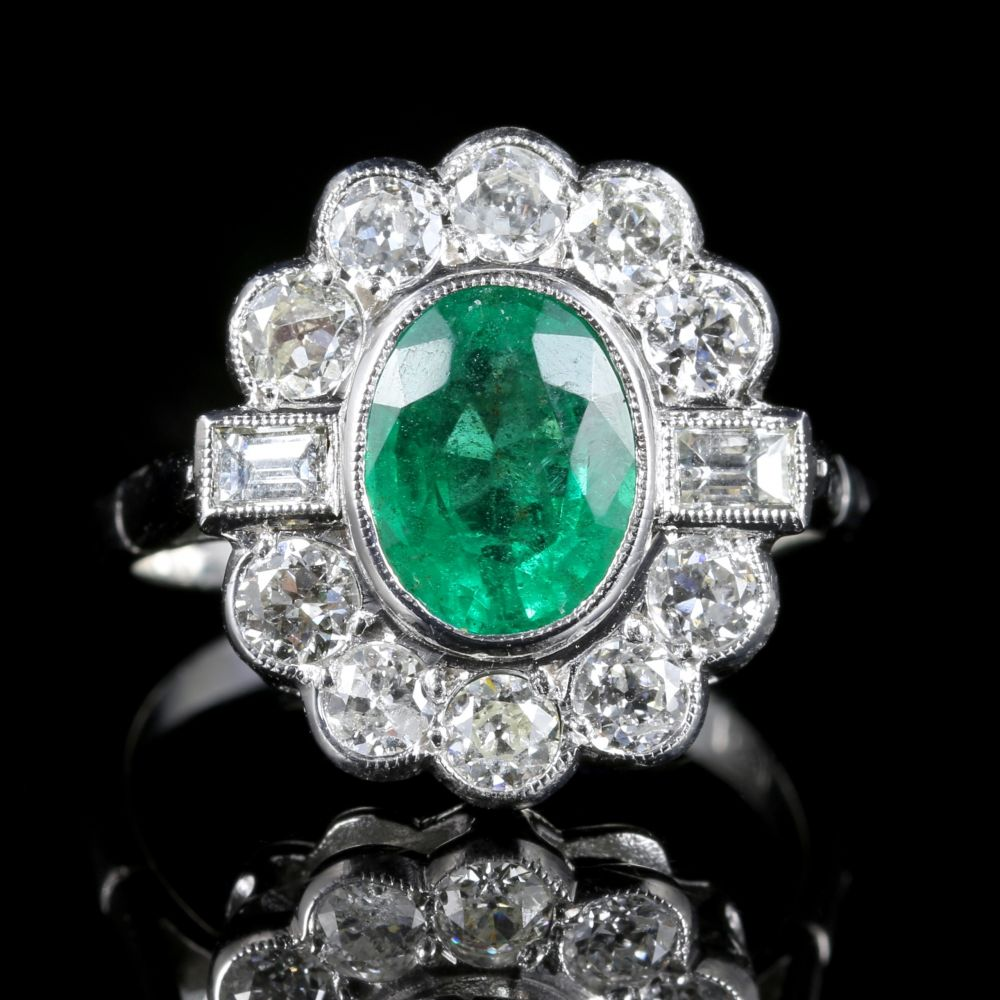 emerald cluster ring 18ct white gold 2 50ct
